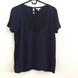 Joie Blue Beaded Short Sleeve Blouse Top M